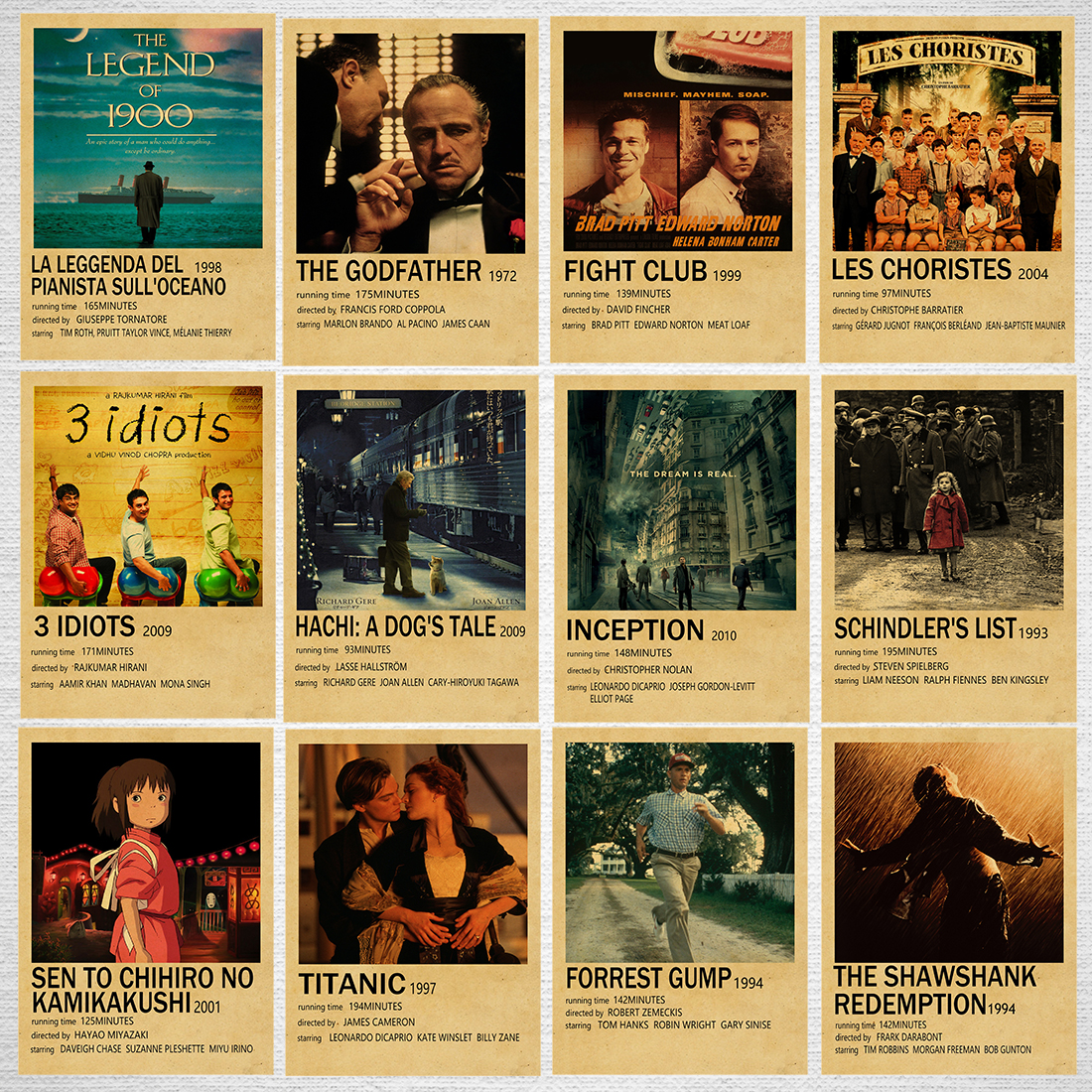 Vintage Classic Movie Poster Kraft Paper Art Painting For Living Room Bar Cafe Buy 3 Get 1 Extra