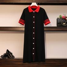 Midi Dresses Polo Women Short-Sleeve Korean-Stitching Elegant Striped Plus-Size Summer