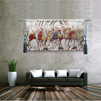 80*140CM Tapestry Art Home Decoration Medieval Classical Bayeux Fabric Wall Hanging Tapestries British War Horse Design