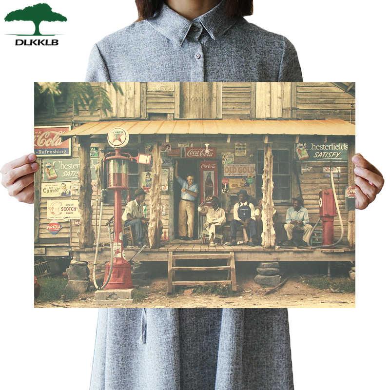 DLKKLB Klassische Retro Poster 1937 Am Straßenrand Shop Vintage Bar Cafe Art Hause Dekoration Malerei Wohnzimmer Schlafzimmer Wand Aufkleber