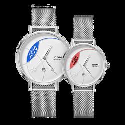 DOM Watch Women Top Brand Luxury Quartz watch Casual quartz-watch leather Mesh strap ultra thin clock Relog G-1305/1304