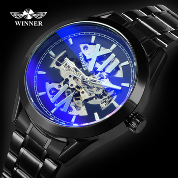 цена на WINNER Luxury Brand Automatic Watches for Men Fashion Blue Mirror Case Watch Stainless Steel Strap Black Wristwatch reloj hombre