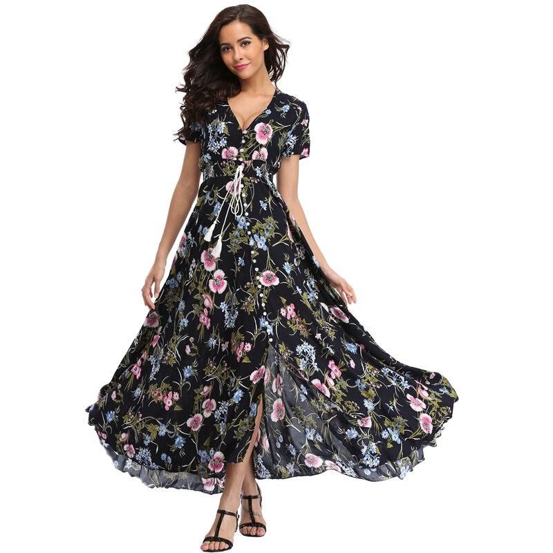 Vintage Clothing Women's Floral Maxi Dresses Boho Button Up Split Beach Party Dress 6