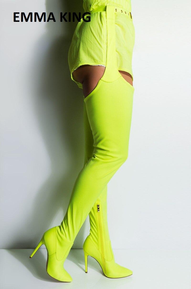 EMMA KING 2019 nouveau néon vert ceinturé cuisse haute talon aiguille bottes sur le genou bottes large haut Sexy extrême Long entrejambe bottes