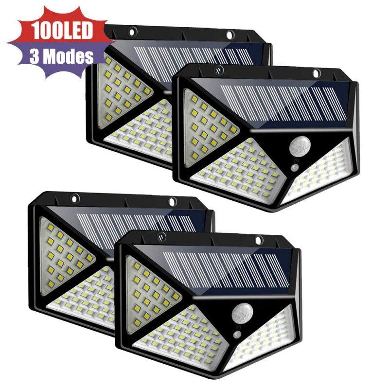 100 ไฟ LED พลังงานแสงอาทิตย์ PIR Motion Sensor โคมไฟพลังงานแสงอาทิตย์กลางแจ้ง IP65 โคมไฟติดผนังกันน้ำ SOLAR แสงอา...