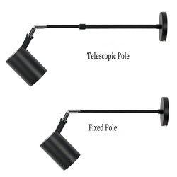 Lâmpadas de parede telescópicas modernas de led, extensíveis, de alumínio, branco, preto, longo, para ponto de parede, para pintura, imagem, gallaria