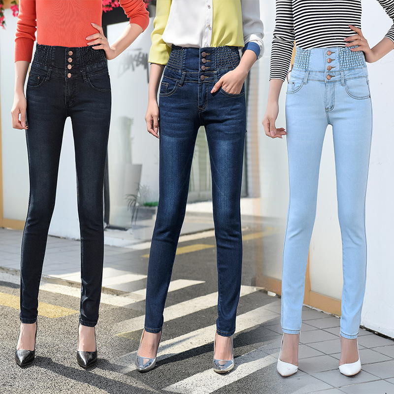 Jeans woman High Waist Pencil Jeans Stretch Elastic Waist Jeans for women Skinny Plus Size Jeans women 2020 image