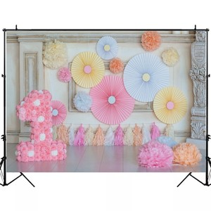Image 3 - Laeacco Chic Wall Pillar Paper Flowers Umbrella 1st Birthday Scene Photography Backdrops Photo Backgrounds For Photo Studio Prop