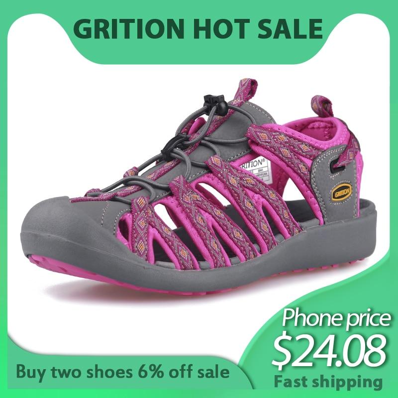 GRITION Women Outdoor Sandals Toecap Casual Breathable Summer Beach Shoes Anti-skid Lightweight Hiking Trekking Sandals Big Size