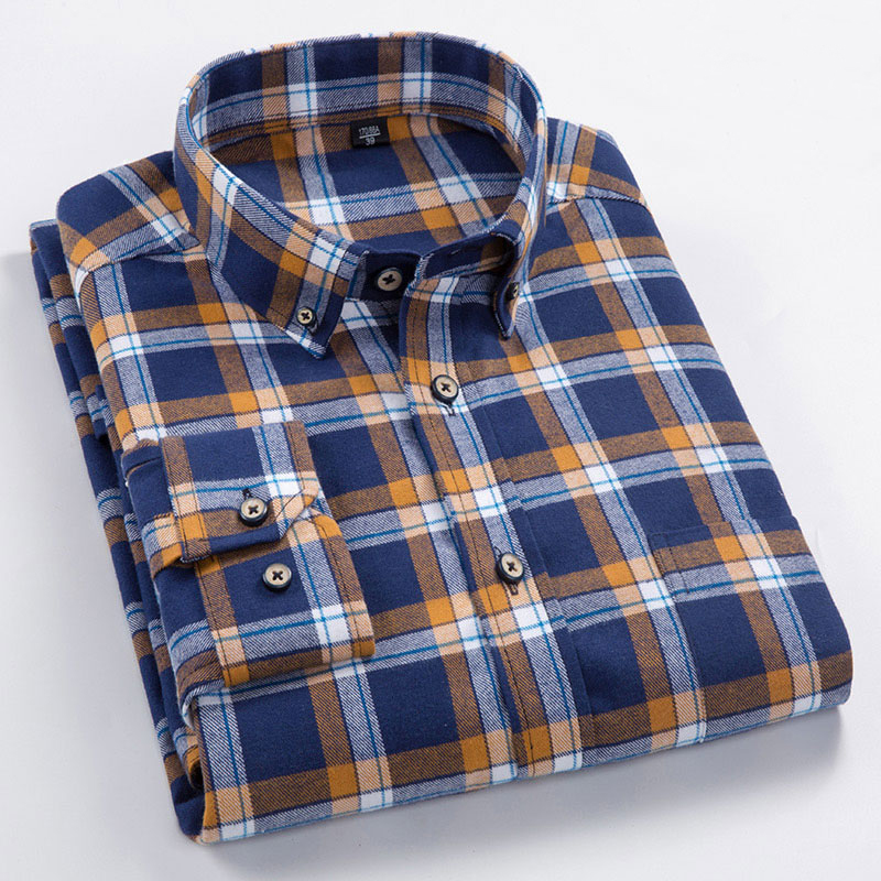 High Quality 100% Cotton Autumn Long Sleeves Shirts Turn-down Collar Casual Shirts Comfortable Plaid Male Tops Plus Size S-8XL