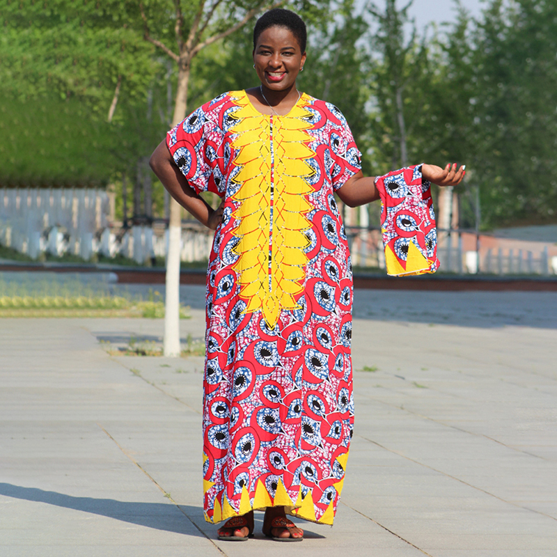 African Clothes Women Dress Rose Multicolor Robe Yellow Printed Dashiki Dress With Scarf