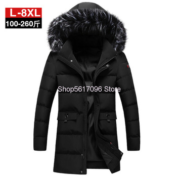 Cotton-padded Jacket Men Coat Winter Medium Length Tender Winter Pack Cotton-padded Jacket Super Thicken Big Size Fat Man Pack