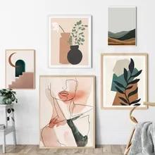 Estilo boho pintura em tela meio século abstracto linha impressão cartaz de terracota plantas parede arte fotos quarto sala estar decoração