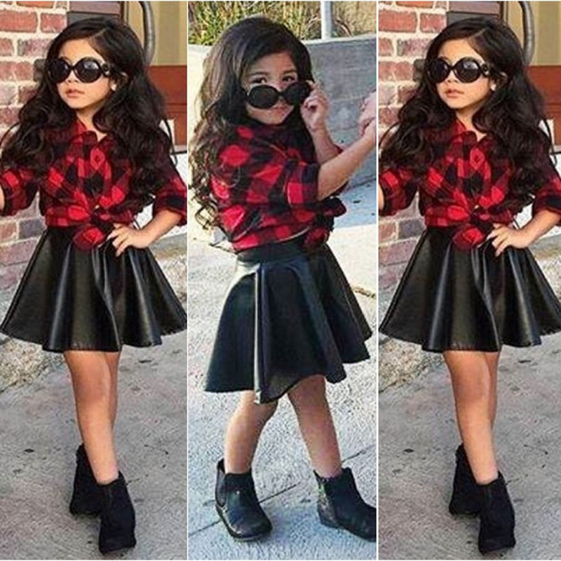 2PCS Kids Girls Clothes Set Princess Plaid Tops Shirt +Leather Skirt Summer Outfits Children Girl Clothes 1-6Y