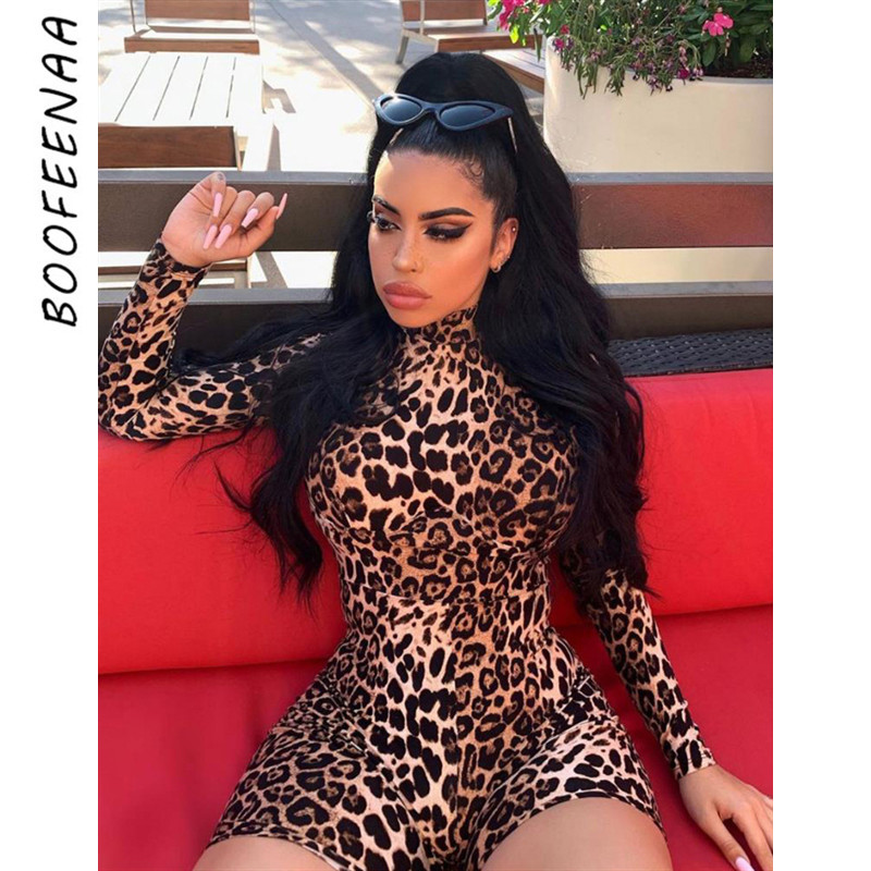 BOOFEENAA Leopard Print Sexy Bodycon Jumpsuits For Women 2019 Fall Party Romper High Neck Long Sleeve One Piece Playsuit C83-I62
