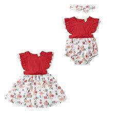 Рождественская одежда; комбинезон без рукавов для новорожденных девочек; Рождественская одежда