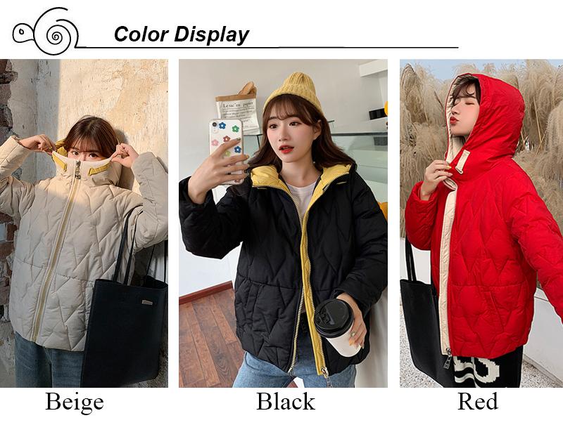 2019 Winter New Short Jacket Women Standing Collar Female Hooded Coat_A1_2