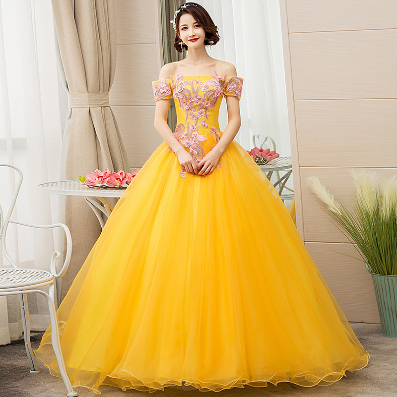 Off The Shoulder Yellow Tulle Quinceanera Dresses Lace Ball Gown Beaded Wedding Party Dress Pearls Vestido De Quincianera 2020