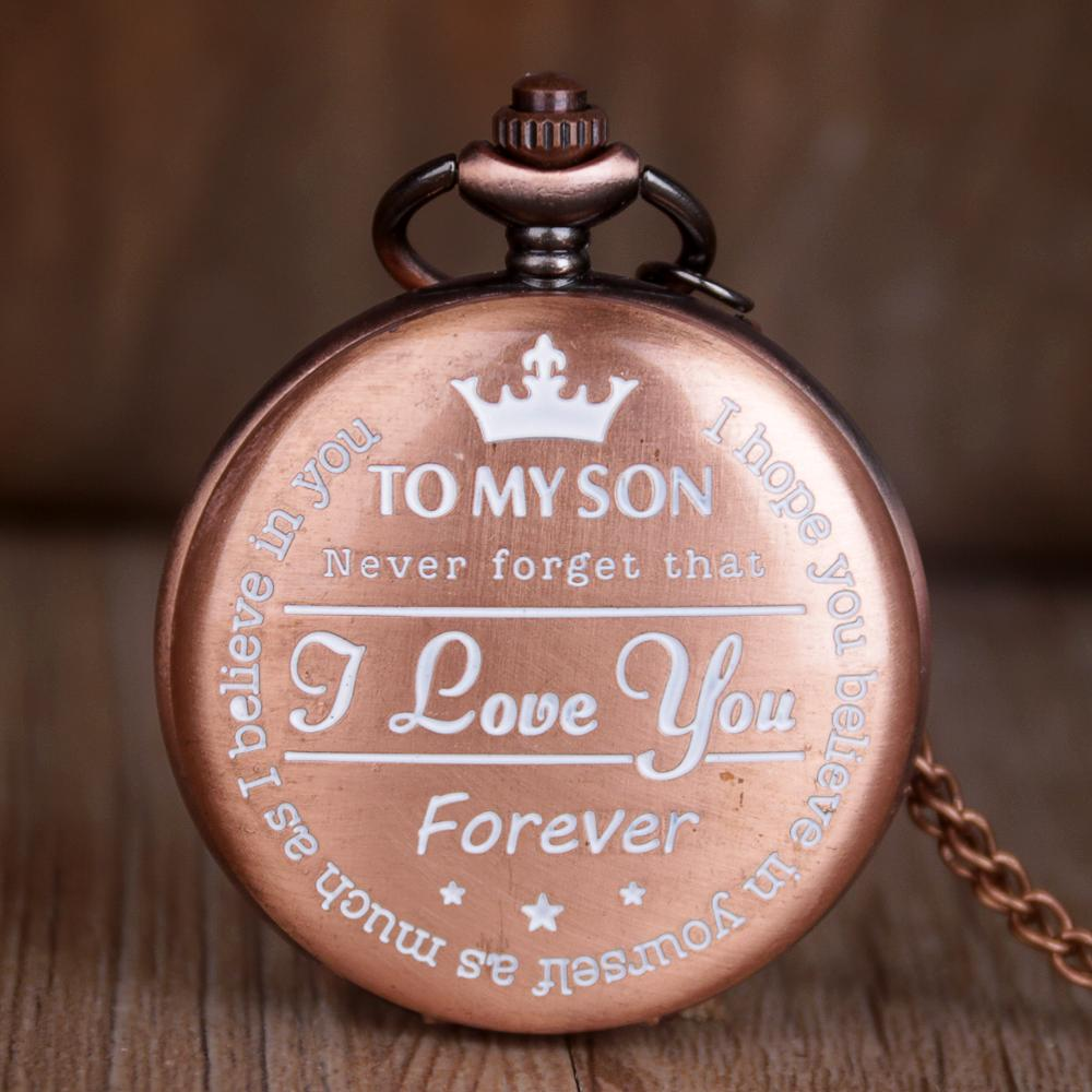 To My Son Quartz Pocket Watch Vintage Roman Numeral Display Pocket Watches Rose Gold Clock Birthday Gifts For Boys Dropshipping