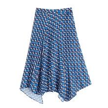 Women Elegant Print Asymmetrical Skirt Back Zipper Split Design Stylish Casual Skirts FFZBQ90 stylish geometric print and zipper design women s tote bag