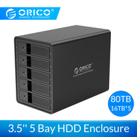 ORICO 3.5'' 5 Bay USB3.0 HDD Docking Station Support 80TB Aluminum SATA to USB 3.0 HDD Enclosure With 150W Internal Power Adaper