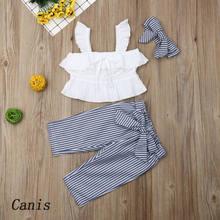 Vêtements pour enfants, ensemble 3 pièces pour filles, haut court + pantalon rayé, 2021