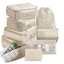 Estuches organizadores de equipaje portátil, bolsa de almacenamiento para viaje, estuche organizador ideal para zapatos y ropa en las maletas, 9 piezas