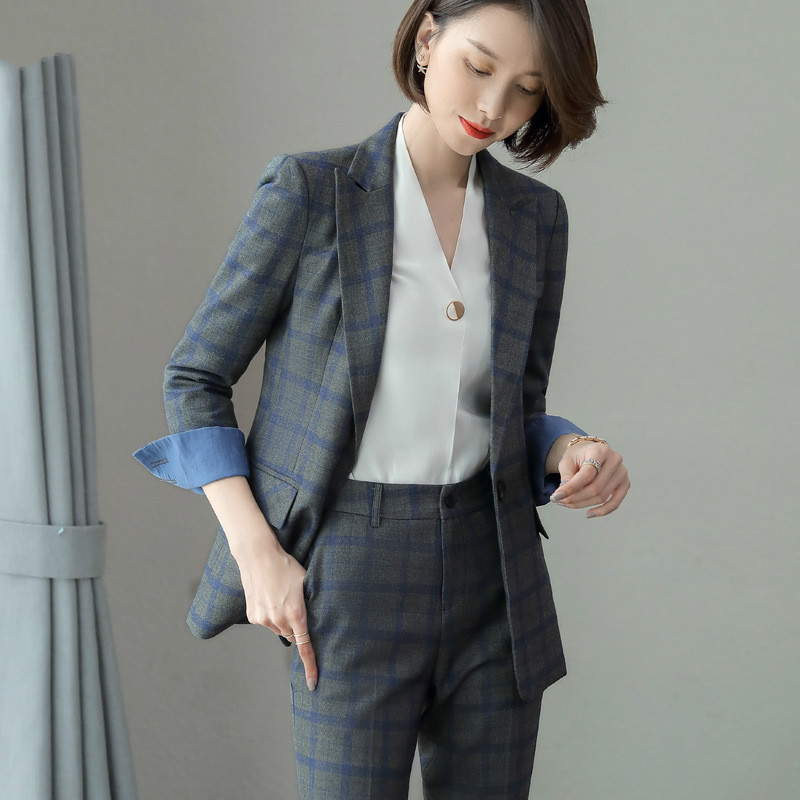 Professional wear ladies suit set high quality Checkered slim suit large size female Casual pants suit Office women's two-piece