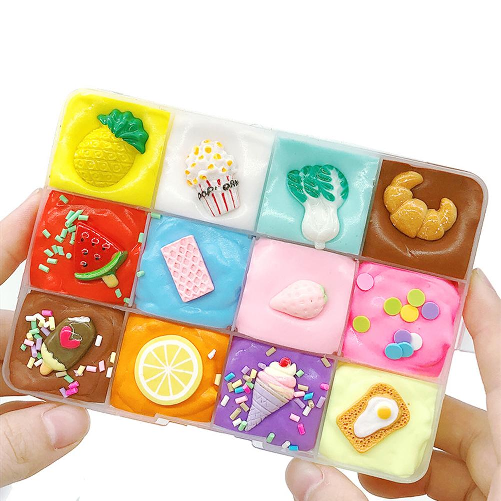 12 Cream Puff Dish Shape Cotton Slime Clay Fluffy Putty Mud Anti Stress Toys Clay Filler Clear Slime Box For Children