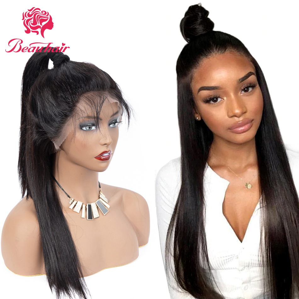 360 Lace Frontal Wig10-26 Inch  Brazilian Straight Lace Frontal Human Hair Wig Pre Plucked With Baby Hair Remy Silky Straight