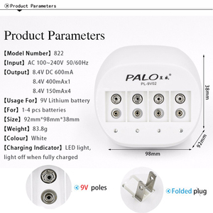 Image 5 - Palo Super Quick Power 4 slots 9V Battery Charger for 9v 6f22 Li ion rechargeable battery LED display Smart Charge