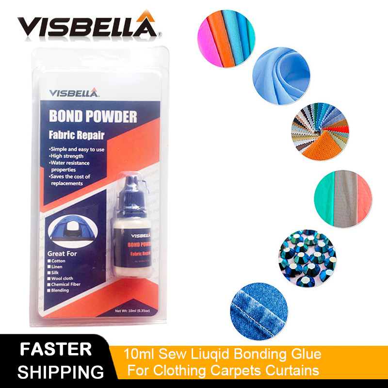 Visbella Fabric Bond Powder Pants Denim Bonding Repair Hand Tool Sets Glue Waterproof Sealers For Clothing Carpets Curtains