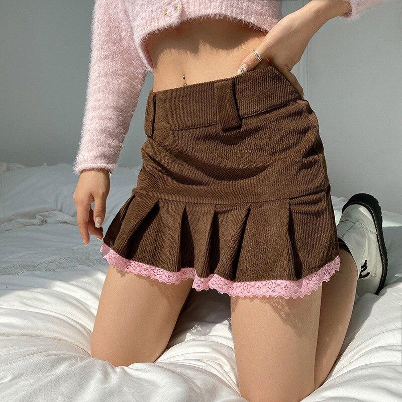 Y2k эстетика Коричневые Вельветовые плиссированные юбки для женщин, в винтажном стиле; Школьная мини-юбка для девушек с кружевной отделкой п...