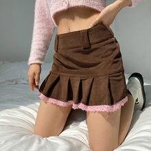 Y2k estética marrom veludo plissado saias feminino e menina do vintage menina da escola mini saia rendas guarnição hem 90s bonito kawaii roupas