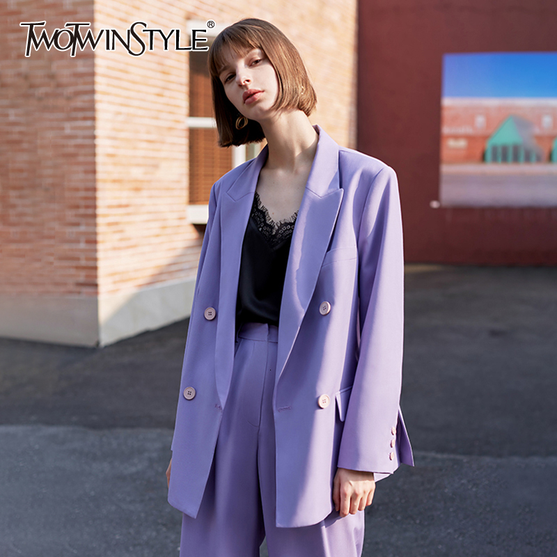 TWOTWINSYLE Vintage Purple Asymmetrical Women's Blazers Notched Long Sleeve Loose Autumn Winter Suit Female Fashion Clothing New