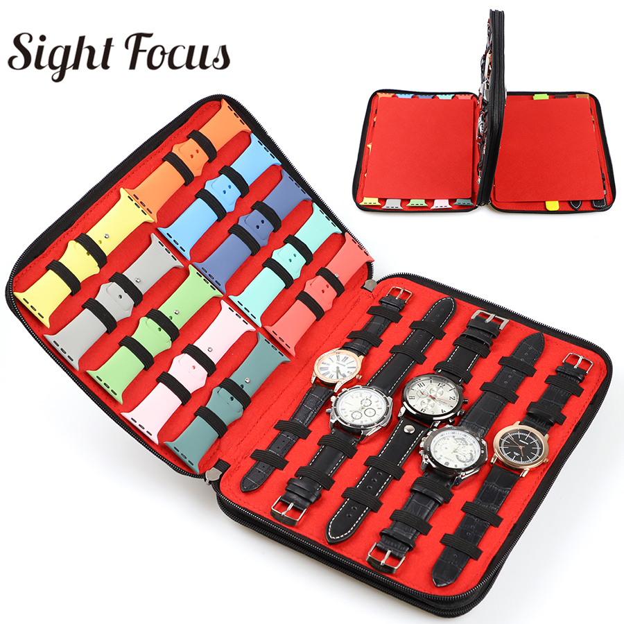 40 Slot Felt Watch Organizer Box Watch Storage Case Pouch Double Layer Watch Box For Apple Watch Strap Band Organizer Holder Bag