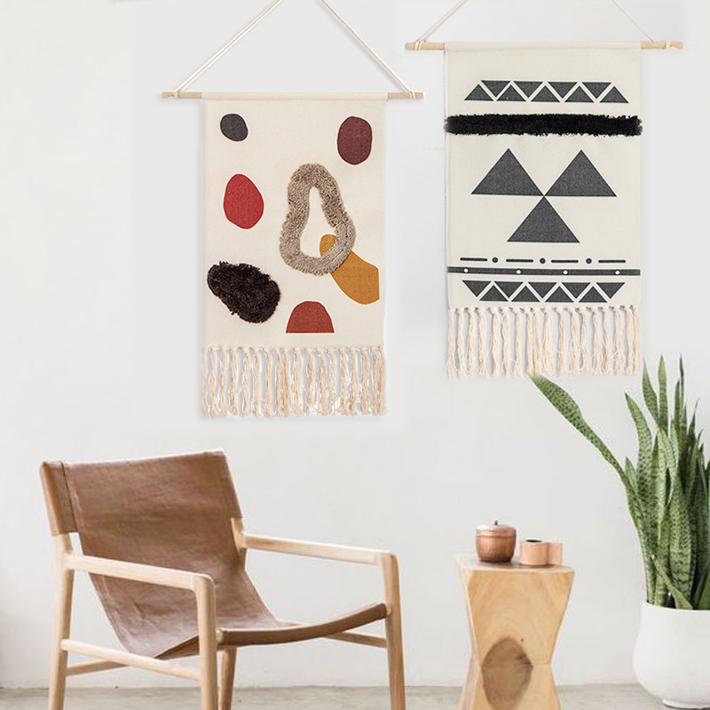 Nordic Hand woven Homestay Tassel Tapestry Hanging Canvas Wall Hanging Handmade Bohemian Retro Art Hanging Cloth