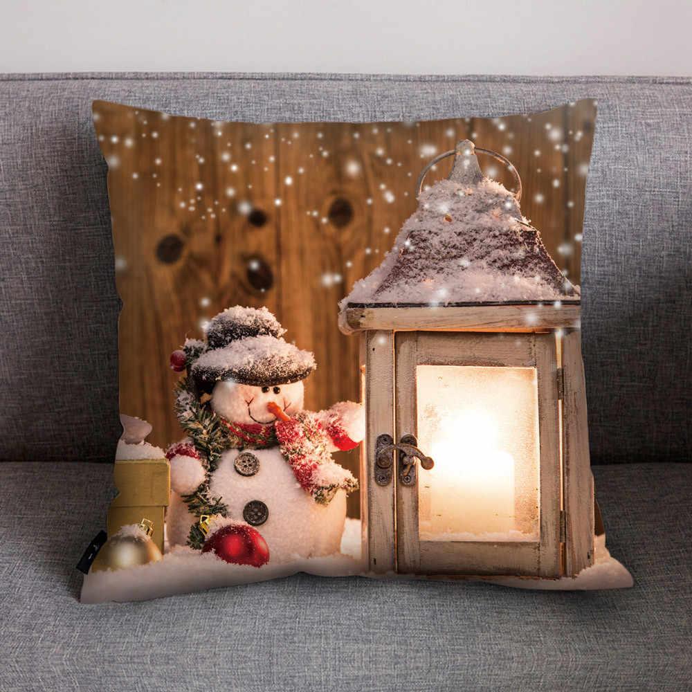 新ホット販売枕ケースハッピー秋クリスマスソフトリネン枕ケースホーム 45*45 センチメートルクッションケース oreiller 注ぐ点灯 # B
