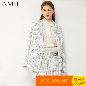 AMII Minimalism Autumn Winter Fashion Temperament Plaid Tweed Jacket High Waist Aline Mini Skirt Suit Female 12070344
