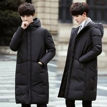 2020 novo longo para baixo casaco masculino casaco de inverno para baixo jaqueta quente engrossar com capuz casaco confortável masculino cor sólida