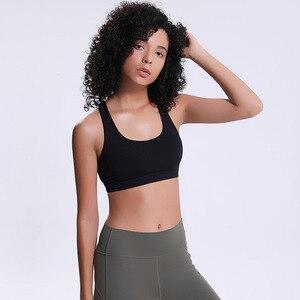 Image 4 - נשים חזיית כושר Jogger רך עירום להרגיש בגדי תרגיל אנטי זיעה עמיד הלם לדחוף את צלב אופנה פעיל חזיות
