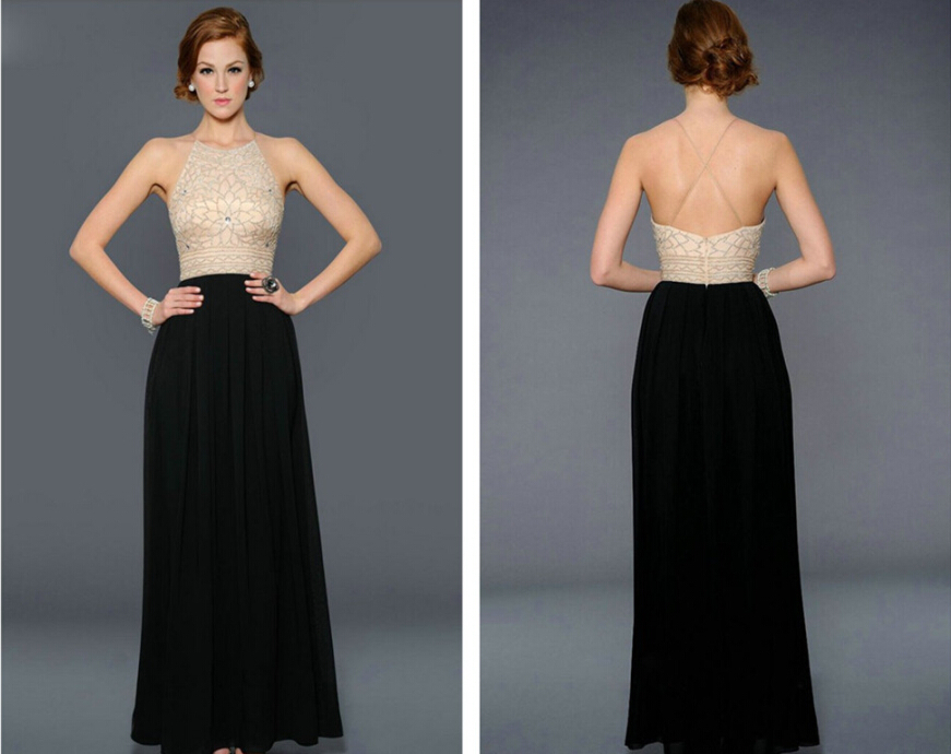 Summer Style Sexy Backless Vintage Simple Attractive Floor Length Black Chiffon Beading Prom Dresses 2015 Vestidos Para Festa