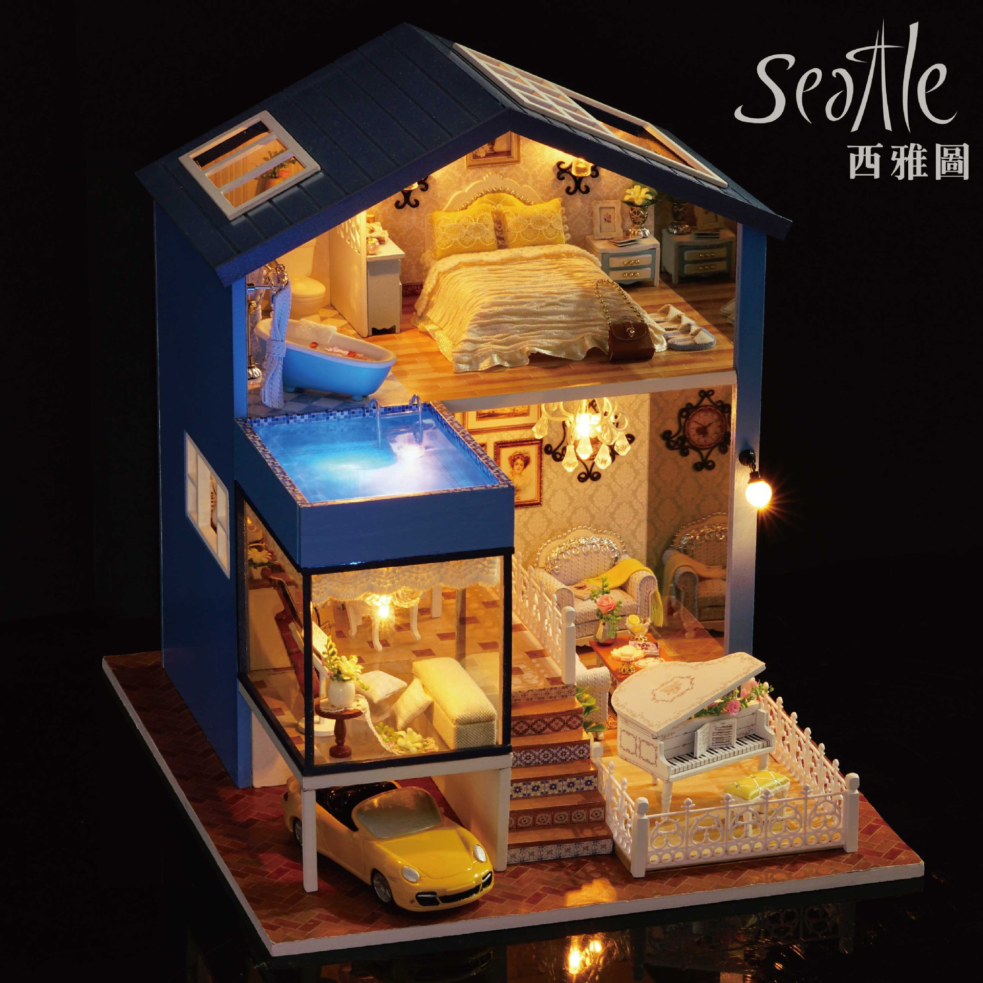 DIY Hut Seattle Hand-made Small House Assembled Toys Architecture Model Birthday Gift Women's