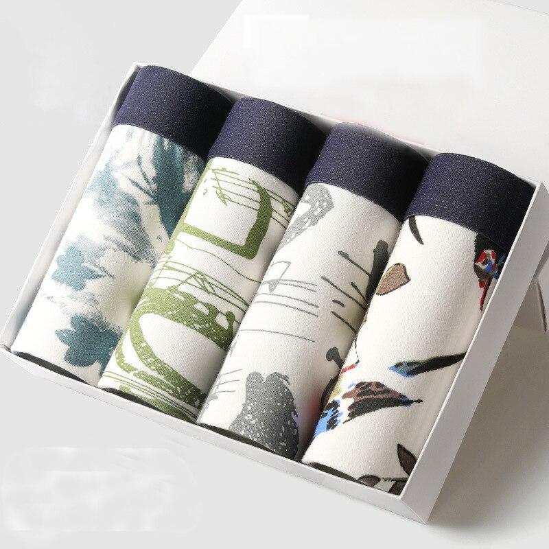 4Pcs/lot Mens Boxers High Quality Shorts Male Underwear Boxers 95% Cotton Fansion Print Boxer Man Underwear Panties Men Gift
