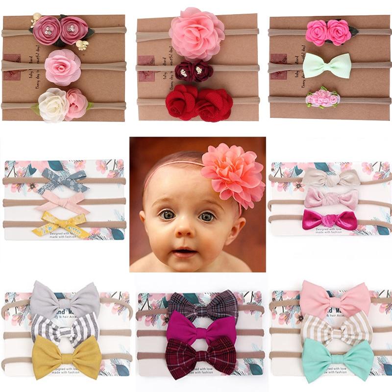 Baby Headband 3Pcs Baby Headbands Bowknot Elastic Hair Bands Cotton Rabbit Ear Headwear Print Floral Bow Turban Baby Hair Accessories,30