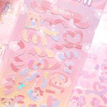 Cute INS Bear Bunny Cake Laser Sticker DIY Scrapbook Bottom Collage Phone Computer Diary Happy Plan Decoration Sticker