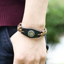 Vintage Alloy Star Charm Genuine Leather Bracelet Men Fashion Braided Handmade Rope Wrap Bracelets & Bangles Male Gift
