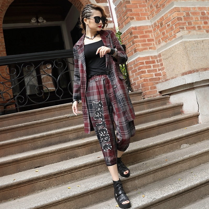 Spring Top Quality Letter Printing Plaid Womens Three Piece Sets Long Sleeve Cotton Linen Blazer Elastic Waist Cropped Trousers