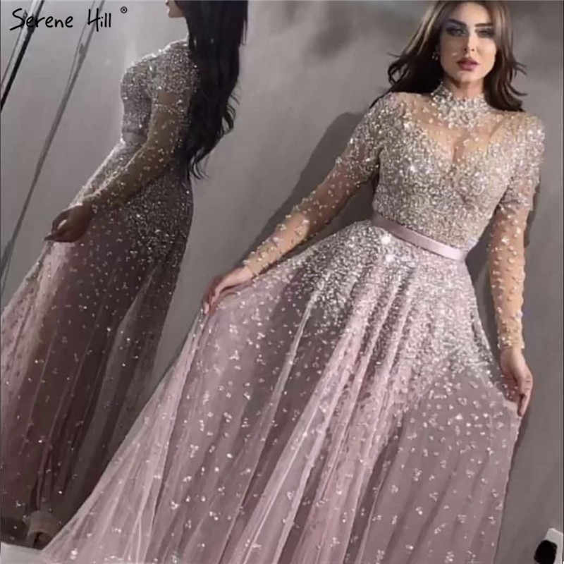 Latest Design Pink High Collar Evening Dresses 2019 Long Sleeves Sequined Sexy Evening Gowns Serene Hill LA70066