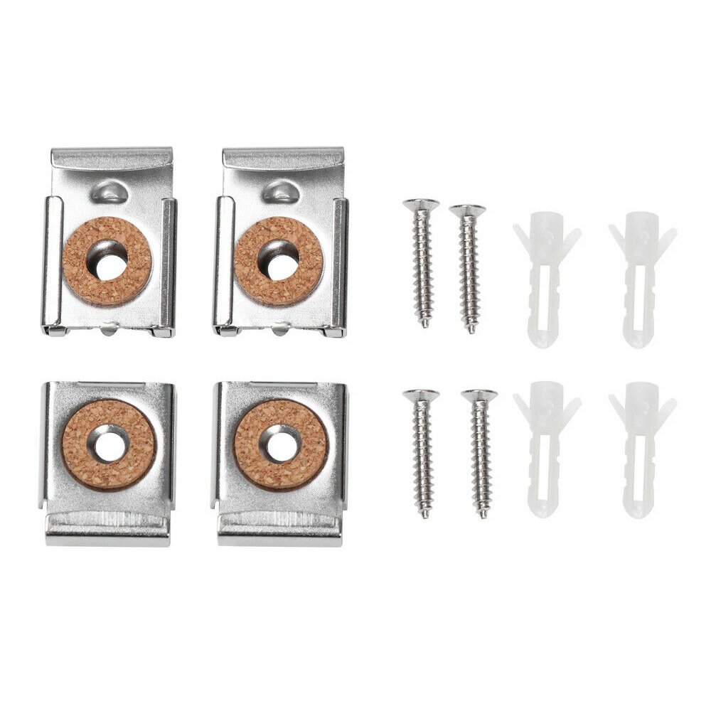 Frameless Mirror Glass Wall Hanging Fixing Spring Loaded Hanger Clips Dowels